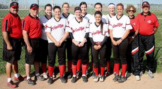 Smitty's Terminators will host the national softball championship tournament at Blumberg Aug. 6 to 10. They are (back row, l to r): Coach Mike Ryan, coach Derek Blackman-Shaw, Kayla Warkentin, Rhianna Church, Tara Nykoluk, Paige Smith, Hayley Unger, manager Evelyne Holenski, coach Roy Holenski; (front row) Amanda Ryan, Danielle Klassen, Katarina Boychuk, Ashley Lanz. Missing: Adrianna Boychuk, Mandy Greenberg, Macey Hickes, Courtney Kwasnitza, Nicole Marcoux, Kayla Price, Sarah Shotton.