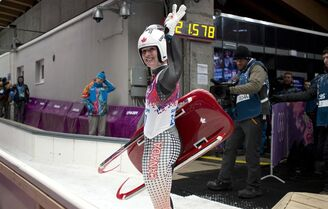 Canada's Alex Gough waves to her fans following her 4th place finish in the women's luge event at the Sochi Winter Olympics in Krasnaya Polyana, Russia, Tuesday, Feb. 11, 2014. THE CANADIAN PRESS/Jonathan Hayward