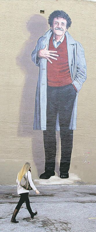 Larger than life Vonnegut on a mural in Indianapolis.