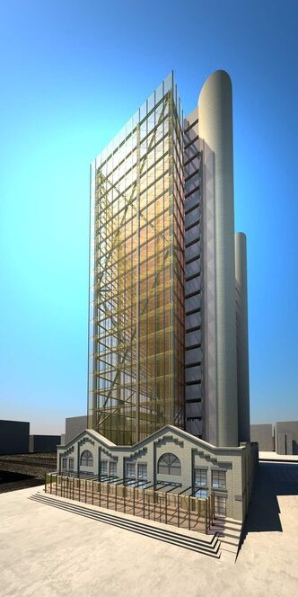 An artist's conception of the highrise development proposed within the James Avenue Pumping Station's walls.