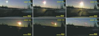A meteor emits a blinding light as it streaks through the sky over Chelyabinsk.