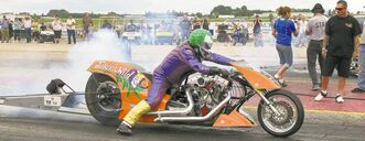 Last Sunday, Andy Beauchemin of Edmonton piloted his top-fuel Harley-Davidson down the track at Interlake Dragway to a blistering 6.99-second 1/4 mile pass at a speed of more than 320 km/h.