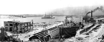 Halifax harbour on Dec. 6, 1917 shortly after massive explosion leveled much of the city.