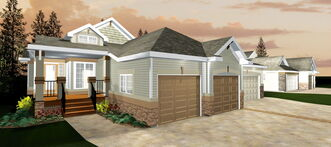 This rendering shows one of the bungalow-style condominiums now under construction in Oak Bluff West.