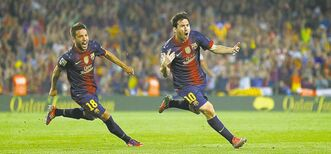 Barcelona's Lionel Messi, right, hit the back of the net a phenomenal 91 times in 2012.