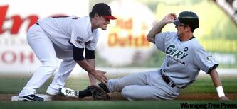 RailCat Mike Rohde is out by a country mile as Goldeye Patrick Brooks waits with open arms to slap the tag on at second base on Monday night.