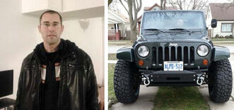 Winnipeg police say Brandon Wheeler's 2010 Jeep Wrangler, with Ontario licence plate ALPD 512, was found in the city.