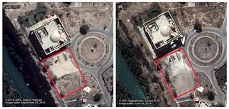 This combination of satellite images made on Sept. 29, 2013 by CNES, left, and on June 16, 2014 by DigitalGlobe, and annotated by Human Rights Watch, shows the Salahuddin palace at the presidential palace compound in Tikrit, Iraq, 80 miles (130 kilometers) north of Baghdad. Human Rights Watch, a leading international watchdog, says the darker area within the open field marked by the red rectangle in the photo at right indicates blood stains from a mass killing at the palace. The group said Wednesday, Sept. 3, 2014, that new evidence, including these satellite images, indicates the Islamic State fighters killed far more men after they captured the city of Tikrit than what was initially reported. (AP Photo/Human Rights Watch, CNES and DigitalGlobe)