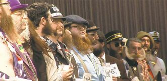 Groomsmen: Contestants in beard-growing competition face off.