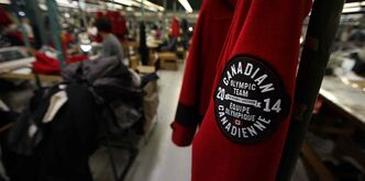 Coats for the Canadian Olympic team on the production floor of Freed & Freed International Ltd.