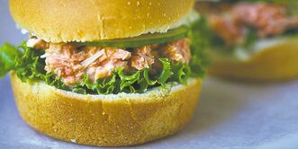 Salmon salad  sliders are easy to make and fun for kids to eat.