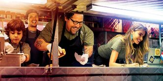 From left, Emjay Anthony, John Leguizamo, Favreau and Sofia Vergara serve comedy and positive feelings in Chef.