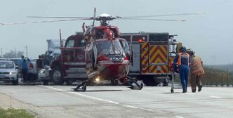 A STARS air ambulance responds at an accident scene.