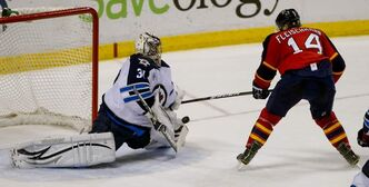 Florida Panthers' left'wing Tomas Fleischmann (14) is stoned on a breakaway by Winnipeg Jets goalie Ondrej Pavelec (31) in the thrid period at Bank Atlantic Center in Sunrise, Florida on Tuesday.