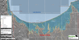 An aerial photograph showing the extent of inundation expected for wind-eliminated lake levels to 815.5 feet in the RM of Portage la Prairie.
