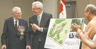 (Left to right) George Peterson, the sole surviving member of the Arden Seven, Premier Greg Selinger and Mayor Sam Katz applaud following the unveiling of plans for a new park plaza in honour of seven comrades who grew up on Arden Ave. in Winnipeg. They volunteered, fought and were captured during the Battle of Hong Kong during the Second World War in 1941. The Arden Seven Interpretive Plaza, to be located in Jules Mager Park in St. Vital, commemorates comrades Fred Abrahams, twins Morris and George Peterson, and brothers Alfred, Edward and Harry Shayler and Bill Lancaster, all of whom survived the battle of Hong Kong. Friday, August 16, 2013.  (OLIVER SACHGAU) (JESSICA BURTNICK/WINNIPEG FREE PRESS)