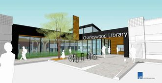 An artist's rendering of the entrance to the new Charleswood Library.