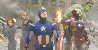 Supersize them superheroes: From left, Black Widow (Scarlett Johansson), Thor (Chris Hemsworth), Captain America (Chris Evans), Hawkeye (Jeremy Renner), Iron Man (Robert Downey Jr.), and Hulk (Mark Ruffalo).