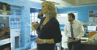 Series stars Kristin Lehman and Louis Ferreira on the set of the new CTV police drama Motive, currently in production in Vancouver.