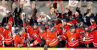 The Team Ontario bench erupts after Sean Monahan's goal midway through the third gives them a 4-3 lead over Team USA.