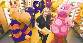 Playtime: Backyardigans artistic director Patti Caplette gets in the middle of the fun.