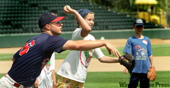 Former Goldeyes catcher Kory Doan gives a lesson in throwing the ball to one of the youngster's attending a recent All Star Youth camp.