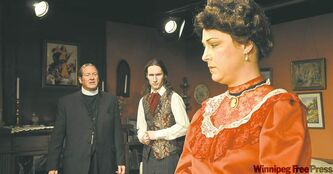 From left,  Oliphant,  Rae and  Moore  in Tara  Players�  production  of Candida.