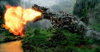 Care for a mint?: Grimlock in a scene from Transformers: Age of Extinction.