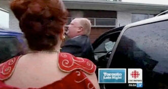 Actress Mary Walsh, dressed as character Marg, Warrior Princess, ambushes Toronto Mayor Rob Ford last week.