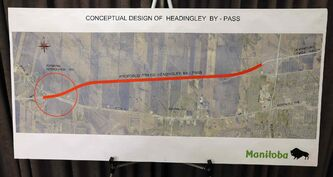 A map shows the route of the proposed Headingley bypass.