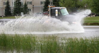 A rainfall warning is in effect for Winnipeg and most of the southern half of the province.