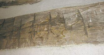 Gouges from an axe used to build the trading post in 1843.