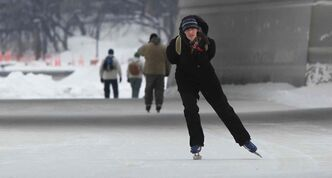Alberta Kamstra was out skating on a section of the Red River Mutual Trail, which officially opened on a mild Friday morning.