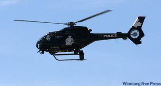 The Winnipeg police helicopter on patrol.