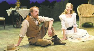 Right, Tom Rooney  as Trigorin and  Bethany Jillard  as Nina.