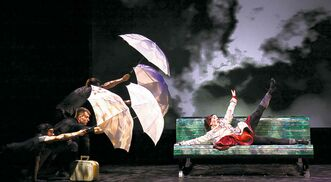 Hugues Sarra-Bournet, Laurianne Brabant, Andréanne Joubert, Marie-Eve Lafontaine and Frédéric Nadeau perform in I On the Sky.