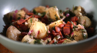 French potato salad with bacon.