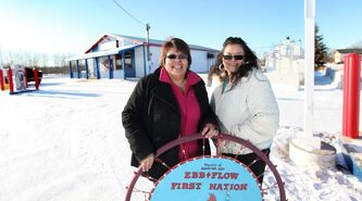 Ebb and Flow general store manager Pam Pompana (left) and assistant manager Marcella Vandal with a dream catcher that was donated to their business just before their opening day on Dec. 16, 2011.