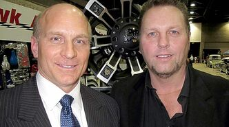 World of Wheels announcer Jason Ryan, right, with celebrity bodyguard Jeff McWhinney. The dynamic duo have been working behind the scenes at the annual car show for more than 20 years.