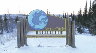 Sign at the Arctic Circle.