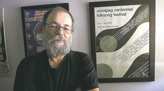 Mitch Podolak ����� co-founder Winnipeg Folk Festival stands next to original Winnipeg Folk Fest posters that featured Bruce Cockburn- See Carolin Vesely story- July 04, 2013   (JOE BRYKSA / WINNIPEG FREE PRESS)