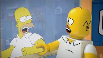 "This image released by FOX shows character Homer Simpson, from the animated series, ""The Simpsons,"" as a Lego figure in episode No. 550, titled, ""Brick Like Me,"" airing Sunday. Using computer-generated special effects, the town of Springfield and its residents have been reimagined in the style of the famed plastic toys. (AP Photo/Fox)"