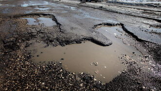 A pothole  at the intersection of St Matthews Avenue and Hampton Street,