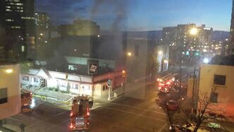The former Gio's Club and Bar at Smith Street and York Avenue burns this morning.