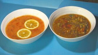 Bowl 'em over with fresh tomato soup (left) and red lentil soup made with tomatoes.