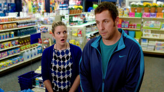Drew Barrymore, left, and Adam Sandler in Blended.