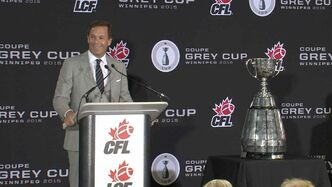 Mark Cohon, commissioner of the Canadian Football League,  announces the 2015 Winnipeg Grey Cup hosting at Investors Group Field in Winnipeg on Wednesday.