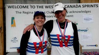 Sheila Wilson-Kowal (left) and Friederike von Aweyden placed first in the master women's double at the 37th Western Canada Sprints Regatta hosted by the Regina Rowing Club on Wascana Lake in Regina, Sask. Wilson-Kowal also placed first in the master women's single.
