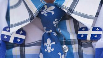 A man dressed in Quebec colours during the Fete Nationale in Montreal, June 24, 2013. THE CANADIAN PRESS/Graham Hughes