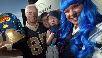 Blue fans (from left) Irv Koch, wife Sandi, granddaughter Iyla, daughter Keely.